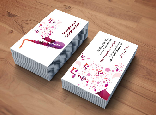 Anthea Muir Saxophone Tuition - business card design