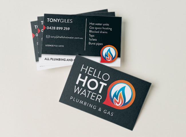 Hello Hot Water - business card design