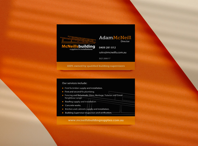 McNeills Building Suplies - business card design