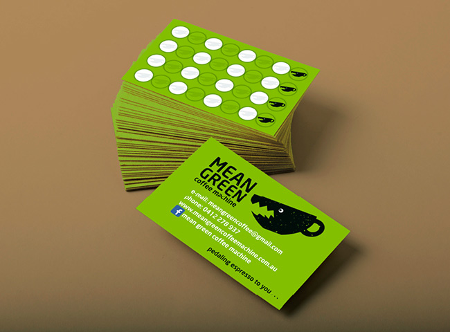 Mean Green Coffee Machine - Business Card design