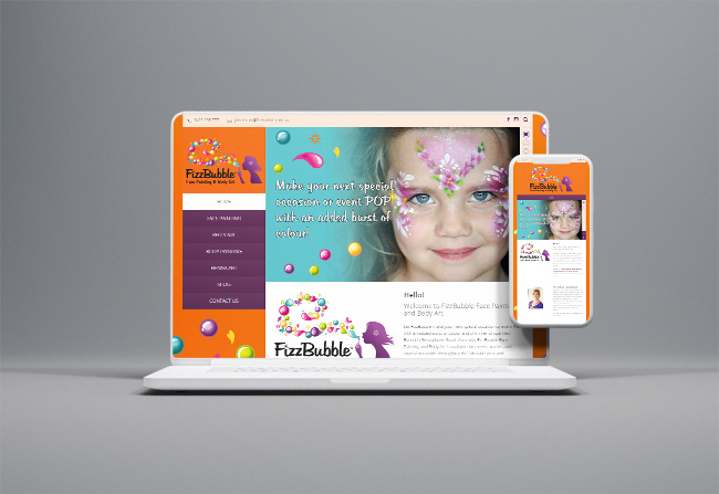 FizzBubble Face Painting - website design