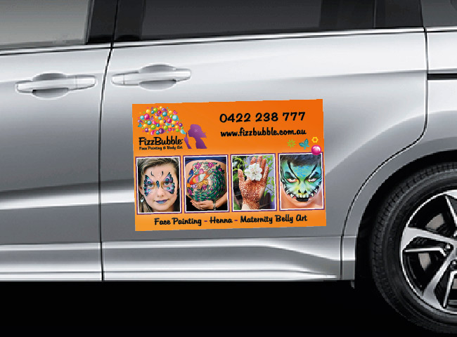 Car magnet signage for FizzBubble Face Painting