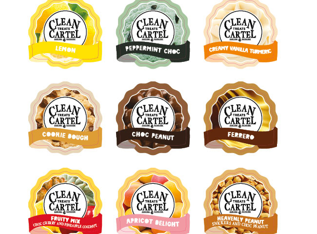 Custom die cut labels for Clean Treats Cartel