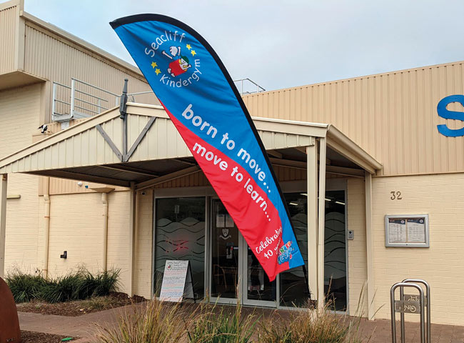 Feather Banner for Seacliff KinderGym
