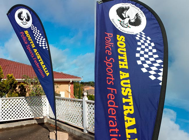 Feather Banner for South Australia Police Sports Federation