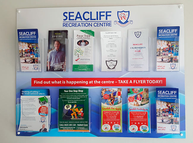 Flyer holder signage for Seacliff Recreation Centre