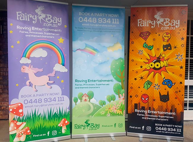 Pull up banners for Fairy Bay