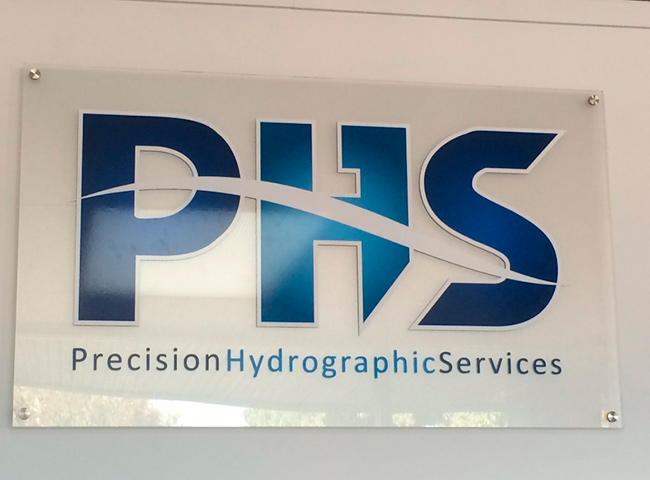 Wall signage for Precision Hydrographic Services