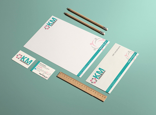 KM Rehabilitation - stationery design