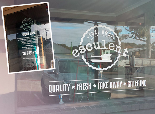 Window signage for Esculent
