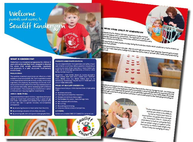 A4 information Brochure for Seacliff KinderGym