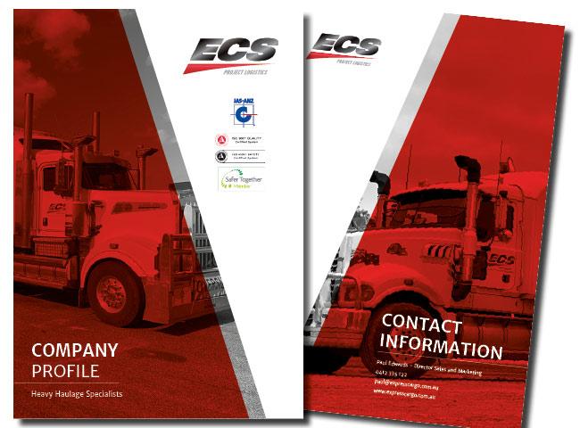 A4 brochures for ECS Project Logistics