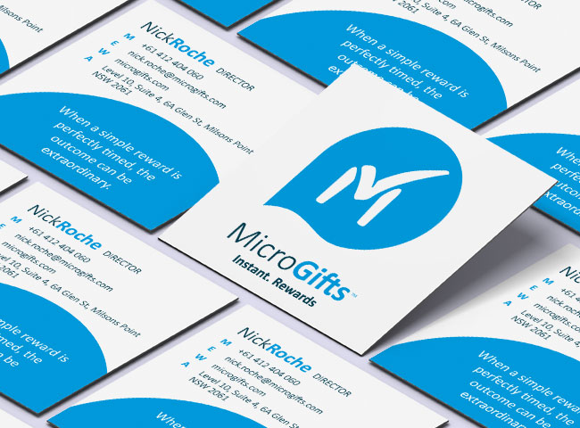 MicroGifts - business card design