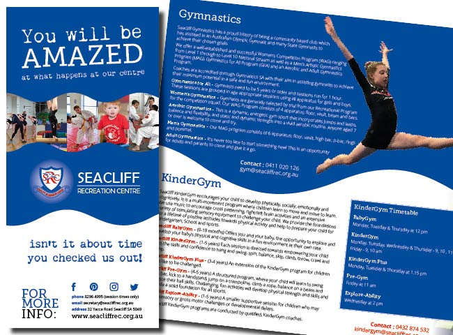 DL 6 page flyer for Seacliff Recreation Centre