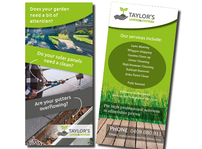 DL flyer for Taylors Lawns & Gutters
