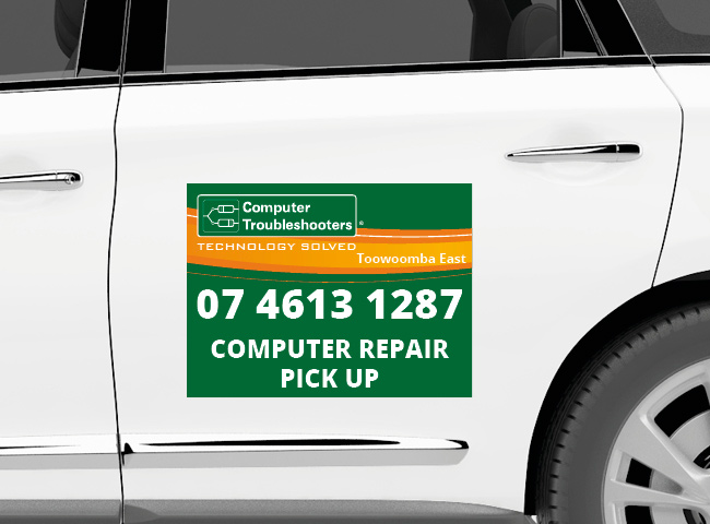 Car magnet signage for Computer Troubleshooters Toowoomba East