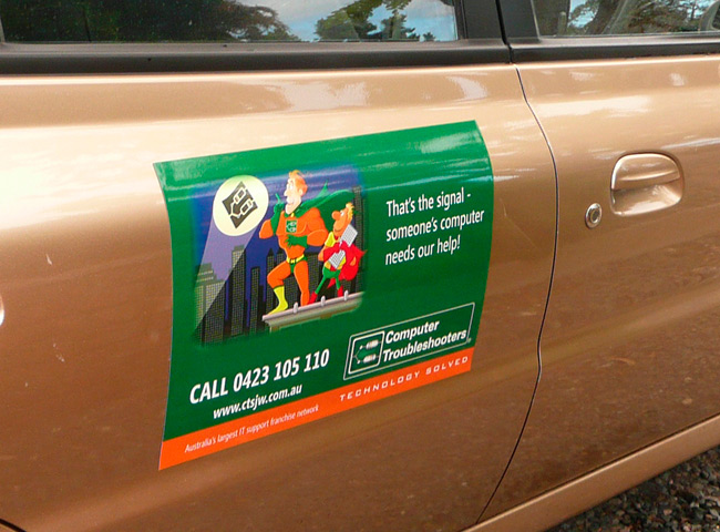 Car magnet signage for Computer Troubleshooters - Hallett Cove