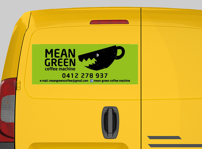 Car magnet signage for Mean Green Coffee Machine
