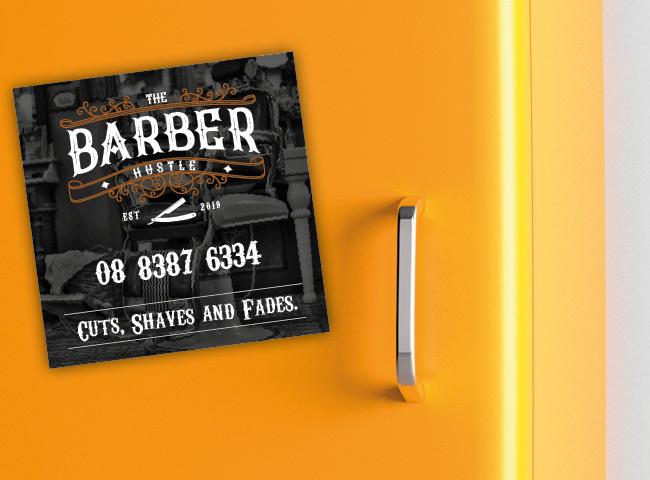 Fridge magnet for The Barber Hustle