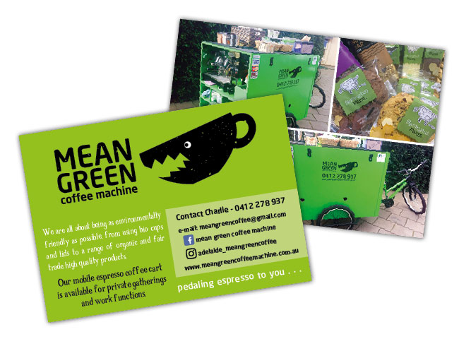 Postcards used as flyers for Mean Green Coffee Machine