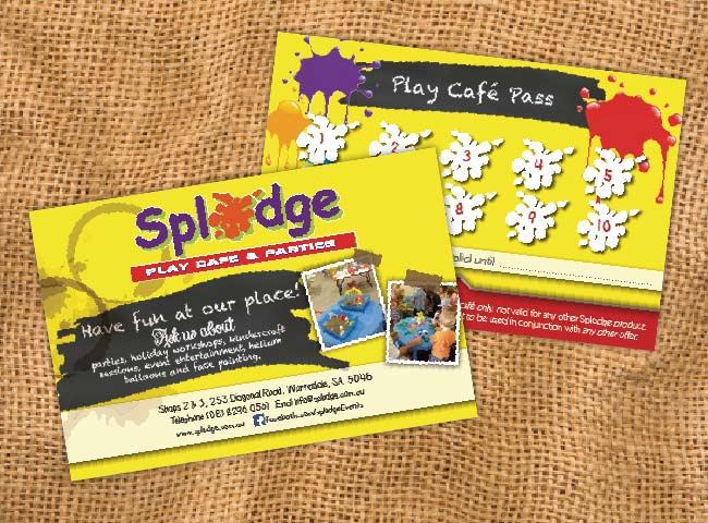 Postcards used as loyalty cards for Splodge